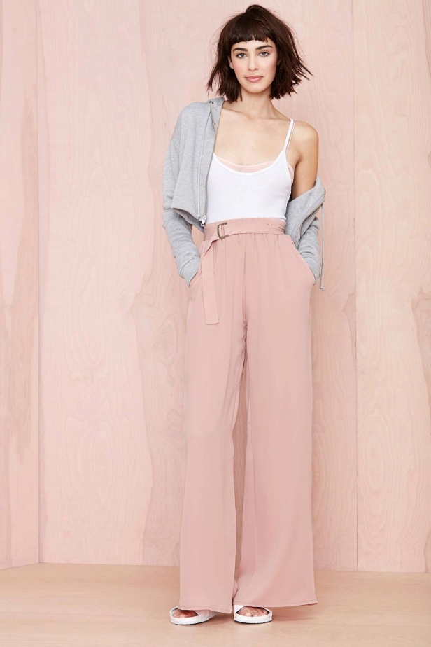 mustard pants outfit Luxury pink wide leg pants trousers fashion Pinterest