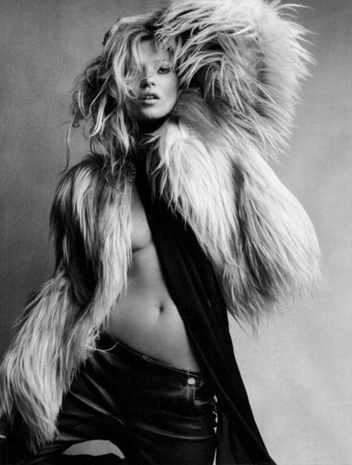Kate Moss faux fur